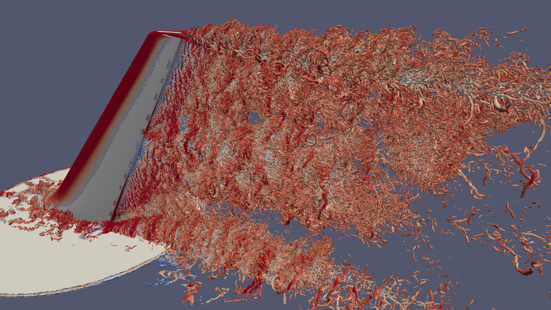 Visualization of instantaneous isosurface of vorticity (Q)from a detached eddy simulation of a vertical tail/rudder assembly with flow controlfrom a single, active synthetic jet.