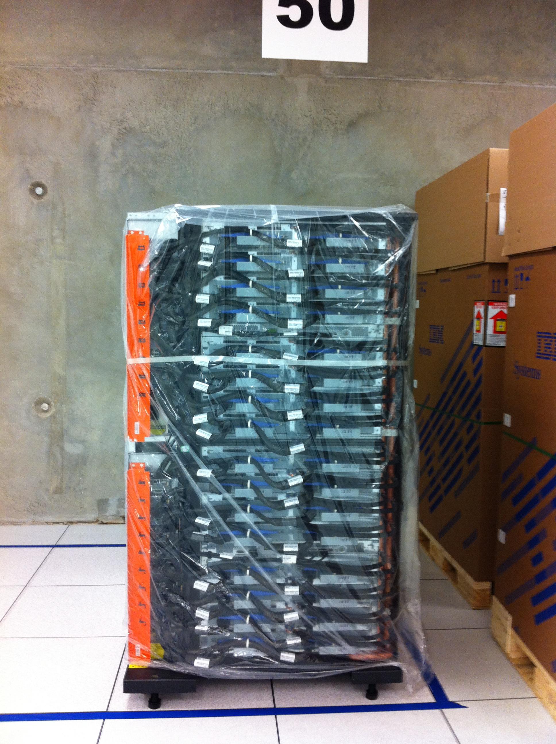 Uncrated Blue Gene/Q rack.