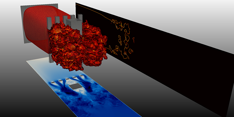 Simulation of flame and explosion propagation