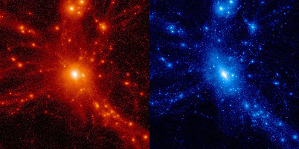 Baryonic density and dark matter content in a cluster of galaxies