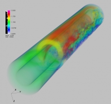 "Velocity magnitude from preliminary Nek5000 simulations of ""SIBERIA"" experiment."