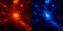 Baryonic density and dark matter in a large cluster of galaxies