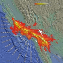 Orange, yellow, and white colors on this map of California reveal regions where strong ground shaking would occur during a possible magnitude-8 earthquake on the San Andreas Fault