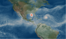 An example of a Category 5 hurricane simulated by the CESM at 13 km resolution