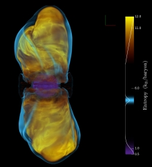 Volume rendering of entropy from a 3D magnetorotational core-collapse supernova