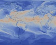 NSF/DOE Community Atmosphere Model (CAM5) Total Precipitable Water – August thro