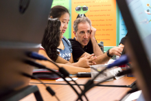 Students practice new skills taught in the 2017 coding camp. Participants explored how Argonne scientists use computers in diverse disciplines and were introduced to up-to-date programming tools. (Image by Argonne National Laboratory.)
