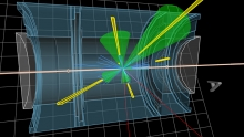 Simulated LHC collision event