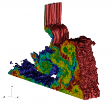Simulation of shock interaction with a variable density inclined interface.