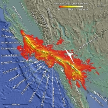 Peak horizontal ground velocities derived from the M8 simulation reveal regions at risk during a magnitude-8 earthquake. Credit: Geoffrey Ely, Argonne National Laboratory