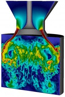 Instantaneous velocity magnitude in a flow through an open valve in a valve/piston assembly.