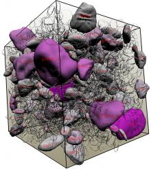 A visualization of the flow of concrete, a complex suspension