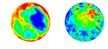 Contours of the temperature (left) and magnitude of velocity (right) for a simulation of RBC for a Rayleigh number of 1x10^7 and a Prandtl number of 0.021