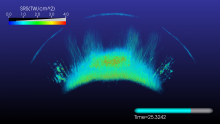 A volume visualization of the laser light that has been backscattered by Stimulated Raman Scattering