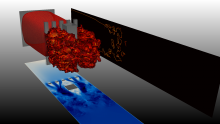 Isosurface of temperature showing the flame wrinkling and acceleration after its interaction with obstacles during the simulation on an explosion