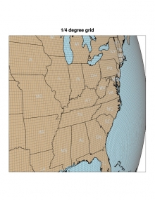 A portion of the 1/4 degree grid global grid is shown over the southeast part of the United States.