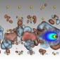 hydrogen atom moving through gold