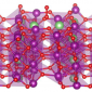 A model of the aMnO2 (001) surface (side view) with lithium intercalated in the structure and an oxygen molecule adsorbed on top. Purple = Mn, red = O, green = Li.