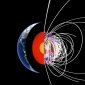 image is a schematic of Earth interior and some magnetic field lines from a model