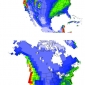 Precipitation rates simulated by RCM and GCM