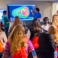 High school girls viewing a scientific visualization