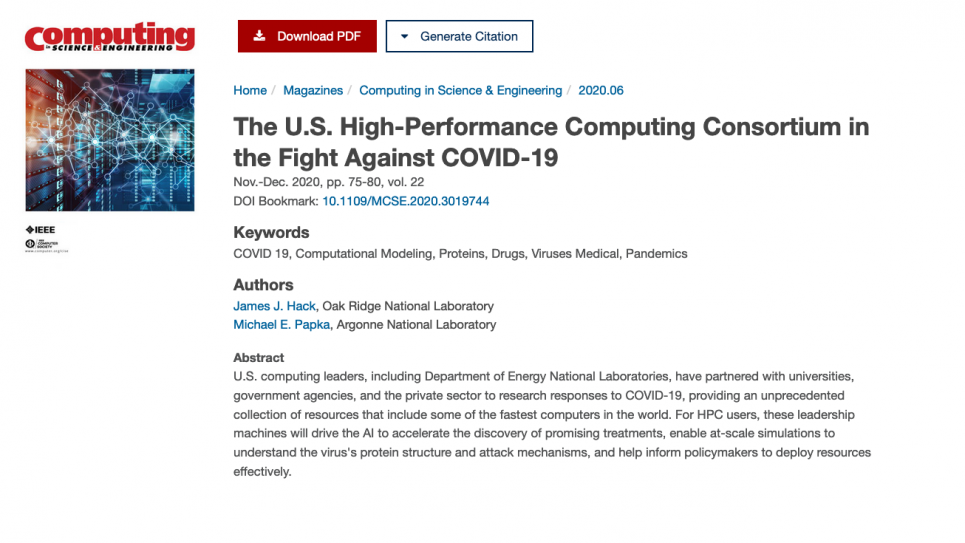 CiSE: The U.S. High-Performance Computing Consortium in the Fight Against COVID-19