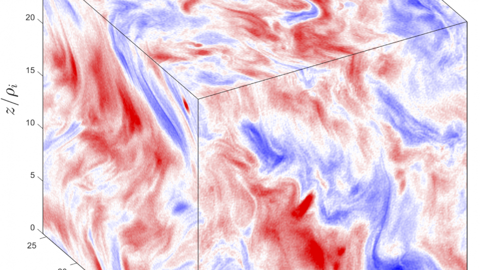 Surface image of the electron energy density from a snapshot of a 10243-cell particle-in-cell simulation of driven kinetic turbulence in a plasma consisting of sub-relativistic ions and ultra-relativistic electrons.